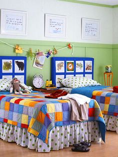 What an awesome idea for a kids headboard! Put children's artwork on display by turning their headboards and walls into an art gallery.