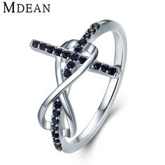 Fashion 925 Silver plated Jewelry Black Geometry Rings For Women R668