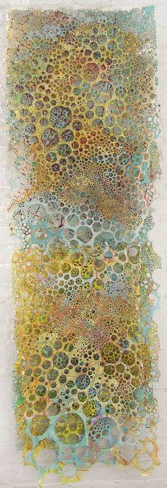 Karen Margolis, Damascus. Three layers of maps, watercolour, marker, thread. #mixedmedia