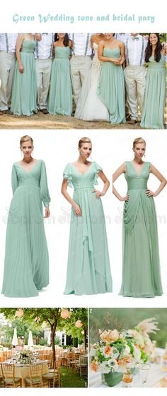Pastel green bridesmaid dresses for peach green wedding themes, Modest bridesmaid dresses with sleeves in elegant cut and fine details