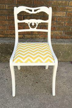 Yellow Chevron Chair Reupholster By @Kate King Via Freshexchangekinge  ...want To Do