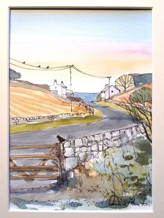 Original Watercolour Landscape Painting-Road to the Sea- Annabel Burton