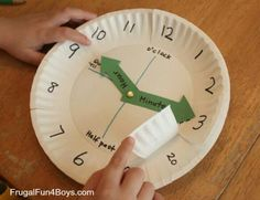 Math > Time/Date Use paper plates to make a clock for teaching time Math Classroom, Kindergarten Math, Teaching Math, Teaching Time Clock, Teaching Money, Fun Math, Math Activities, Maths, Telling Time Activities