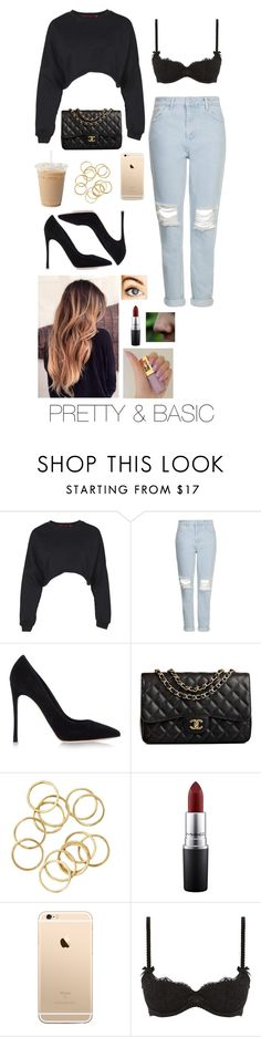 """""""PRETTY & BASIC"""" by brenda-all-over ❤ liked on Polyvore featuring Boohoo, Topshop, Gianvito Rossi, Chanel, MAC Cosmetics, L'Agent By Agent Provocateur, classic, croptop and jeans"""