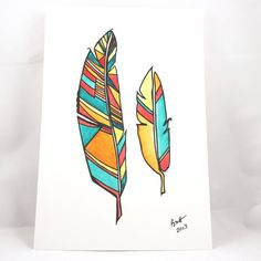 colour feather drawing - Google Search