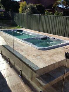 swim spa fully tiled install Décor Ideas, Pool Ideas, Yard Ideas, Tile Installation, Jacuzzi, Cabana, Gazebo, Swimming Pools, Spa