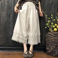 Summer Women Cotton And Linen Lace Pants Wide Leg Linen Pants, Lace Pants, Make Your Own Clothes, Pants For Women, Clothes For Women, Linen Skirt, Mori Girl, Cotton Style, Japan Fashion