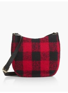 A chic buffalo plaid pattern elevates the look and feel of our holiday-perfect saddlebag. Plaid Heels, Plaid Purse, Tartan Plaid, Plaid Flannel, Jeans For Sale, Clothes For Sale, Purse Patterns, Buffalo Plaid, Clutch Wallet
