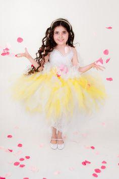 White and Yellow Fairy Tutu Dress - Halloween Costume, Flower Girl Dress on Etsy, $135.00
