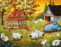 Christine Genest ~ My Blue Car Artist Painting, Painting & Drawing, Watercolor Paintings, Sheep Art, Beginner Art, Ecole Art, Art Story, Canadian Art, Colouring Techniques