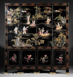 A Chinese Hardstone and Wood Embellished Black Lacquer 'Eight Immortals' Four Panel Floor Screen, c. on Sep 2012 Asian Furniture, Oriental Furniture, Chinese Room Divider, Sep 15, Floor Screen, Folding Screens, Chinoiserie Wallpaper, Painted Chest, Furniture Buyers