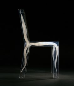 Ghost Chair, created by Design Drift in the Netherlands, is handmade of plexiglass. The inner shapes are formed by millions of carefully choreographed air bubbles, which become visible as light hits and reflects off of them. #productdesign