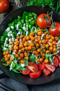 This Buffalo Chickpea Salad is super easy to make, loaded with veggies, and delivers a much needed high-five to the tastebuds! Yes! Gluten-Free + Vegetarian
