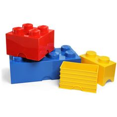 These bricks come in three sizes (2, 4, and 8) and the three standard LEGO colors of yellow, red, and blue. Open them up and toss in your D&D miniatures, puzzle pieces, and random toys and stuff.