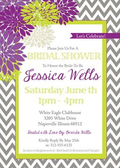 Bridal Shower Invitation  Digital Print File by FunablesCreations