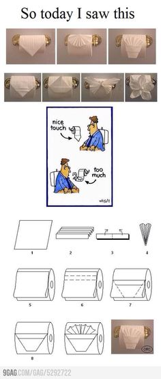 Toilet Paper Origami Toilet Paper Origami LOL the comic portion. Jaycey Ward Ward you might come home to this I know you like the simple fold at hotels/when you cleaned houses. The post Toilet Paper Origami appeared first on Paper Diy. Toilet Paper Origami, Toilet Paper Art, Paper Oragami, Napkin Folding, Paper Folding, Diy And Crafts, Paper Crafts, Clean House, Projects To Try