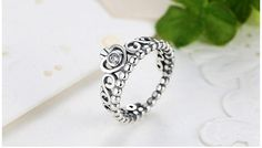 £13 - Ring, 925 Sterling Silver, Stacked, Princess, Crown, My Princess Crown