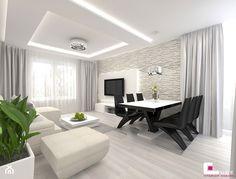 Projekt mieszkania w Siedlcach - Średni salon z jadalnią, styl nowoczesny - zdjęcie od CUBE Interior Design