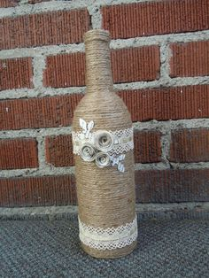 Twine Wrapped Wine Bottle with Decorative by HeatersHandcrafts, $15.00