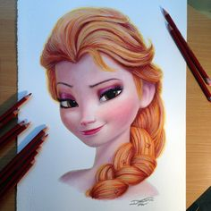 Elsa Color Pencil Drawing by AtomiccircuS<-------------omg I think this is how Elsa would look like without her ice powers