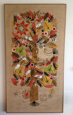 Love this: Vintage Crewel Art-Wall Hanging. Embroidery Needles, Crewel Embroidery, Vintage Embroidery, Cross Stitch Embroidery, Embroidery Patterns, Art Textile, Textiles, Hanging Wall Art, Fabric Art