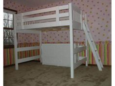 White mission style solid wood loft bed. Available in twin, XL twin, full, and…