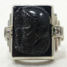 10k White Gold Onyx Roman Centurion Soldier Ring Diamond Accents Free Shipping      stores.ebay.com/roccos