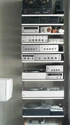 BRAUN Audio Components on Dieter Rahms aluminum 606 Universal Shelving System