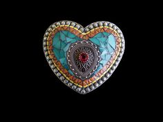 Shoply.com -Stained Glass Silver Heart Mosaic Belt Buckle. Only $95.00