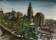 Noel Quinn - City Hall, Los Angeles, 1943, California art, original California watercolor art for sale, fine art print for sale, giclee watercolor print - CaliforniaWatercolor.com