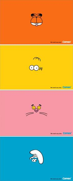 Clever ads for Comex Paint using iconic cartoon characters and their identifying colours. Bright, eye-catching and to the point: they can match any colour! Creative Advertising, Print Advertising, Advertising Campaign, Marketing And Advertising, Advertising Ideas, Ads Creative, Web Design, Icon Design, Creative Design