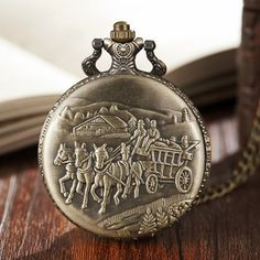 Time Clock, Pocket Watch, Gifts For Women, Bronze, Watches, Chain, Horse, Accessories, Wristwatches