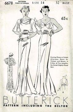 Butterick 6678 | 1936 Evening Dress | Featured in Butterick Fashion News, April 1936