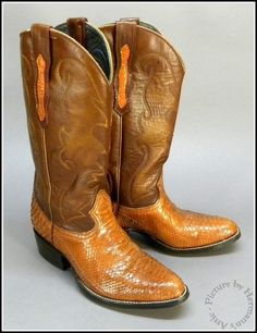 Super Fancy No-Name Vintage 2-Tone Brown Leather & Snake Skin Cowboy Boots #Unmarked #WesternCowboy