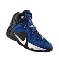 I designed the game royal Nike LeBron 12 iD men's basketball shoe with black and white trim to support the Duke Blue Devils.
