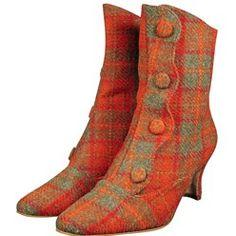 Harris Tweed Button Boots. Gorgeous.  #tartan # wedding