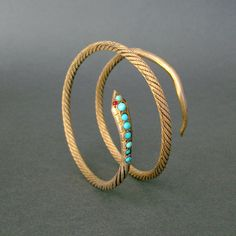 1940s Vintage Egyptian Snake Bracelet - Gold Gilt Silver Serpent Armlet - Turquoise and Garnet - Hallmaked