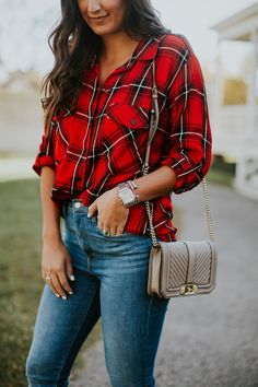 I wanted to share with you this holiday plaid shirt, which is perfect for this time of year. I love a comfy plaid shirt, especially this one! Red Plaid Shirt Outfit, Flannel Dress, Red Flannel, Flannel Shirt, Plaid Shirts, Flannels, Holiday Style, Holiday Fashion, Holiday Outfits