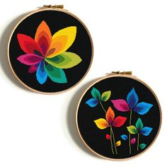 Rainbow flower cross stitch pattern Floral cross stitch Modern cross stitch Mandala cross stitch Counted cross stitch PDF Easy embroidery Beginner cross stitch Cactus cross stitch Watercolor Baby cross stitch Wedding cross stitch animals No395, 396 Rainbow flowers ● Fabric: Aida 14
