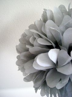 Slate  1 tissue paper pom // green wedding // bat by PomLove, $4.50