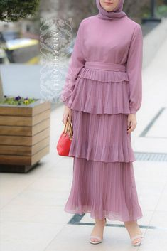 Pink Pleats Dress dress Annah Hariri, Online, Modest clothing atelier of high end quality Abaya Fashion, Muslim Fashion, Modest Fashion, Fashion Dresses, Pink Fashion, Fashion Fashion, Modest Dresses, Modest Outfits, Dress Outfits