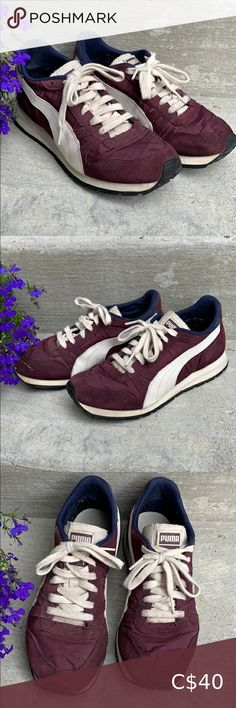 Retro looking Pumas i've had these for years but barely used them, they're a cool retro design and quite comfy! size 8 🌻 Puma Shoes Sneakers Pumas Shoes, Shoes Sneakers, Retro Design, Converse, Comfy, Cool Stuff, Best Deals, Purple, Closet