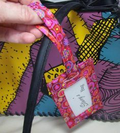 """Make an easy luggage tag with this free tutorial. Not a """"wallet"""" per se, but a great free tut just the same!"""