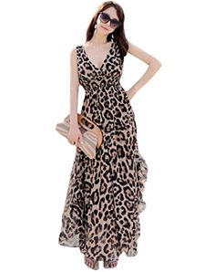 Minibee Women Bohemian Leopard Vneck Long Beach Dress Sundress M *** Continue to the product at the image link.