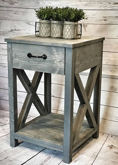 Custom built nightstand is approximately 17x17x25. Goes great with rustic, farmhouse decor. Handles are black, but if you need a different color please message us. Drawer slides are included. *If you are local, just use code LOCALSC to avoid the shipping charges :)*  We are always happy