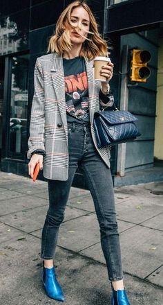 plaid blazer. street style.