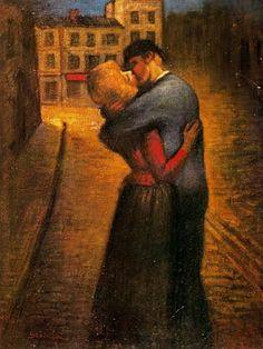 The Kiss - Theophile-Alexandre Steinlen, le baiser (musée de Montmartre, paris). Magritte, Gustav Klimt, Toulouse, The Kiss, Critique D'art, Kiss Painting, Gauguin, Kiss Art, Art Database