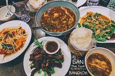 Isan food originates from this eastern region of Thailand. The dishes are more similar to those from Laos than the other regions in Thailand. Thai Recipes, Cooking Recipes, Grilled Meat, The Dish, Bangkok, Spicy, Curry, Dishes, Laos