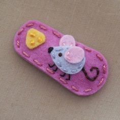 Mouse N' Cheese Rose Pink Wool Felt Snap Hair  Clip