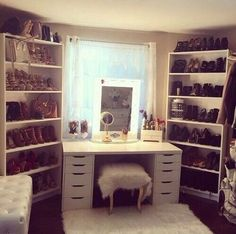 I like the idea of this in a dressing room. Really like the fluffy stool idea as well. The shelving idea is great for shoes and bags.